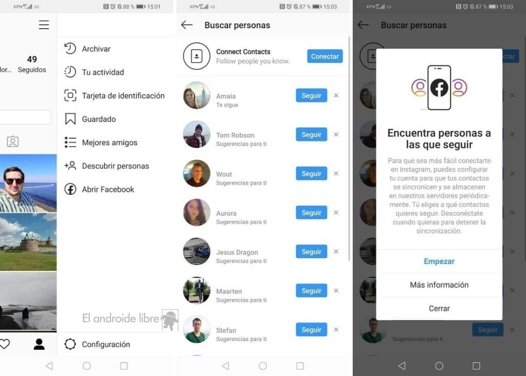Cómo buscar contactos en Instagram