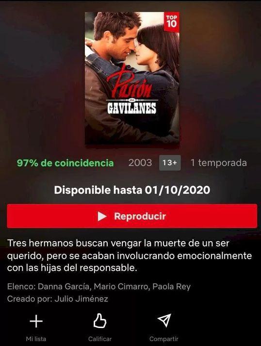 Netflix quita Pasión de Gavilanes