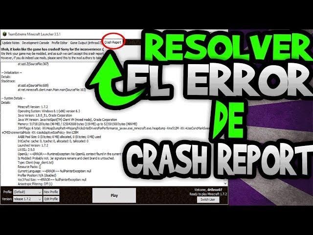 ¿Cómo solucionar el Crash report en Minecraft?