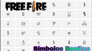 símbolos para free fire