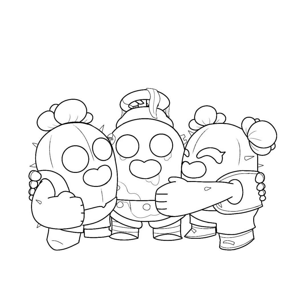Dibujos para Colorear de Spike de Brawl Stars 3